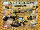 A4 Personalised JCB Diggers Edible Icing or Wafer Cake Topper